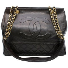 Chanel Black Leather Quilted Shopper Tote Bag