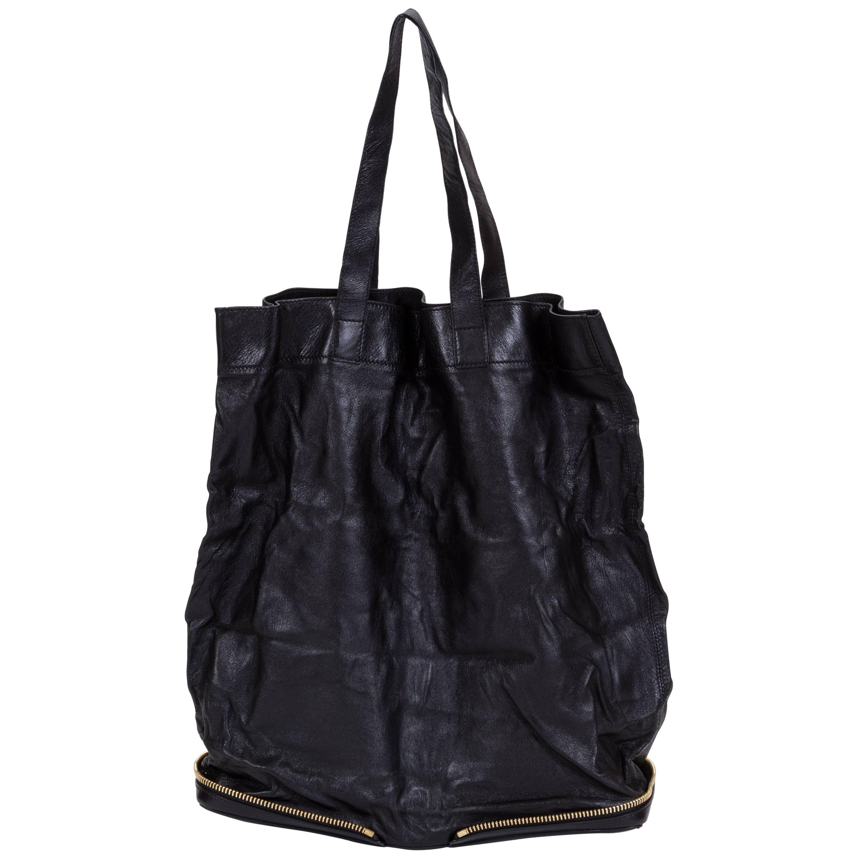 Chloe Black Leather Foldable Purse Tote Bag