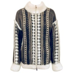 Captivating Chanel Brown, Beige & White Angora Knit Sweater W Front Zipper