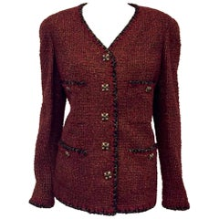 Chanel Bordeaux Tweed Jacket with Glimmering Gold Tone Threads