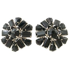 60'S Silver & Black Molded Glass Abstract Flower Earrings By, Weiss