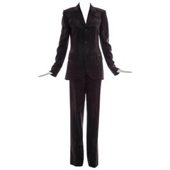 Jean Paul Gaultier 3D Printed Faces Wool Grey Pinstripe Pantsuit, Circa 1990's