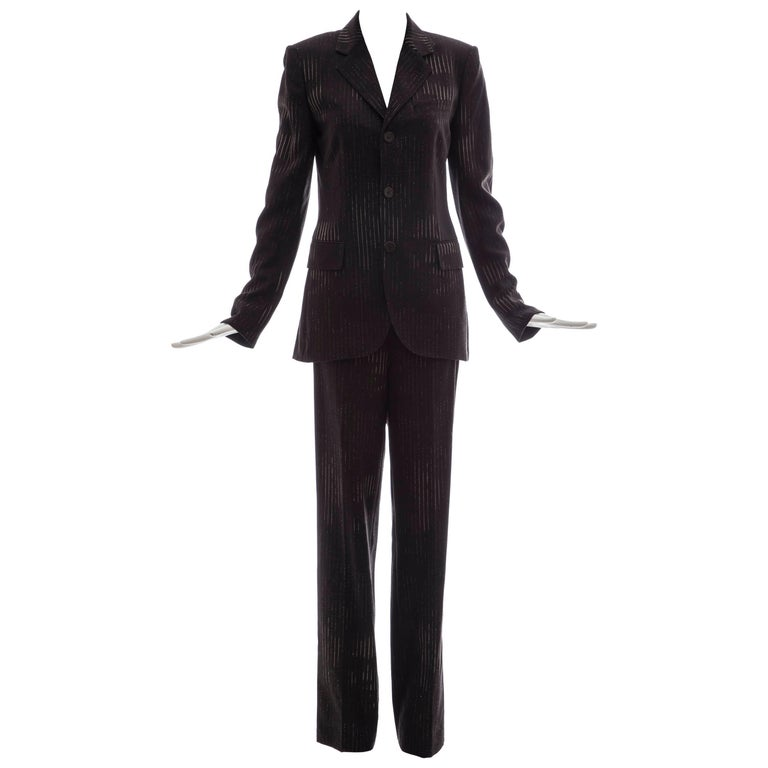 Jean Paul Gaultier 3D Printed Faces Wool Grey Pinstripe Pantsuit, Circa 1990's For Sale