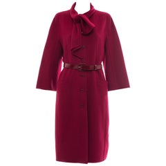 Christian Dior Crimson Red Button Front Cashmere Coat