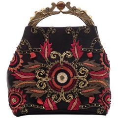 Natori Black Silk Satin Embroidered Evening Bag