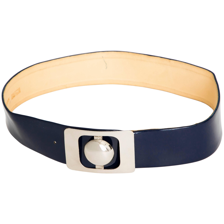 Pierre Cardin Navy Blue Patent Leather Belt, Circa 1960s