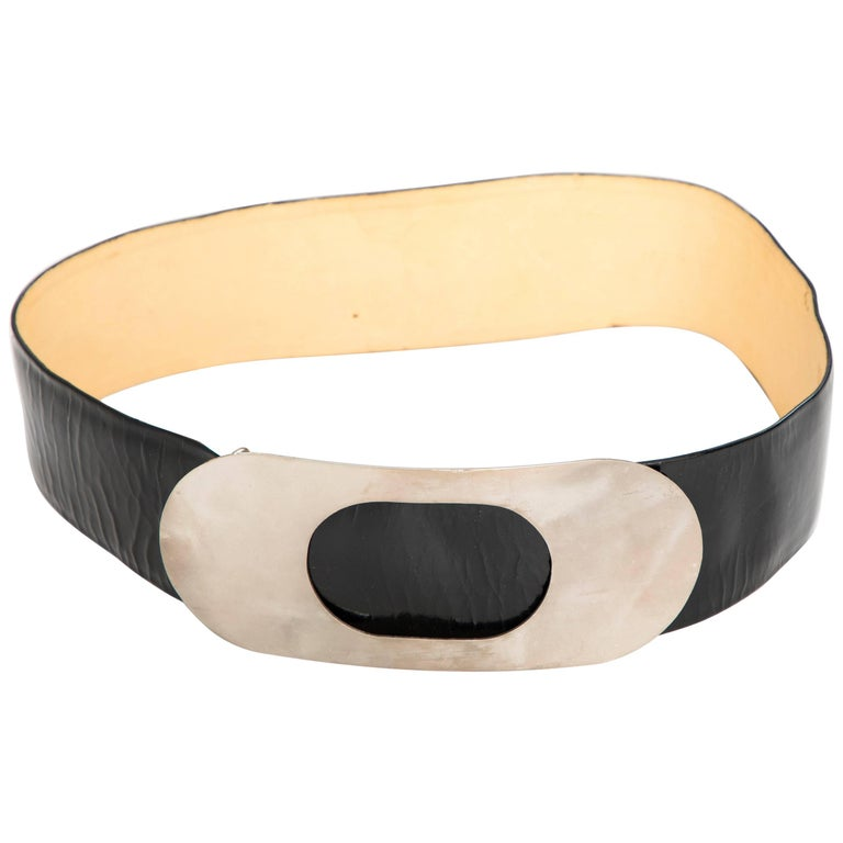 Pierre Cardin Made For Bonwit Teller Black Patent Leather Belt, Circa 1960's For Sale