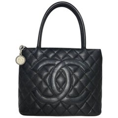 Chanel Black Caviar Leather Medallion Handbag with Silver Hardware