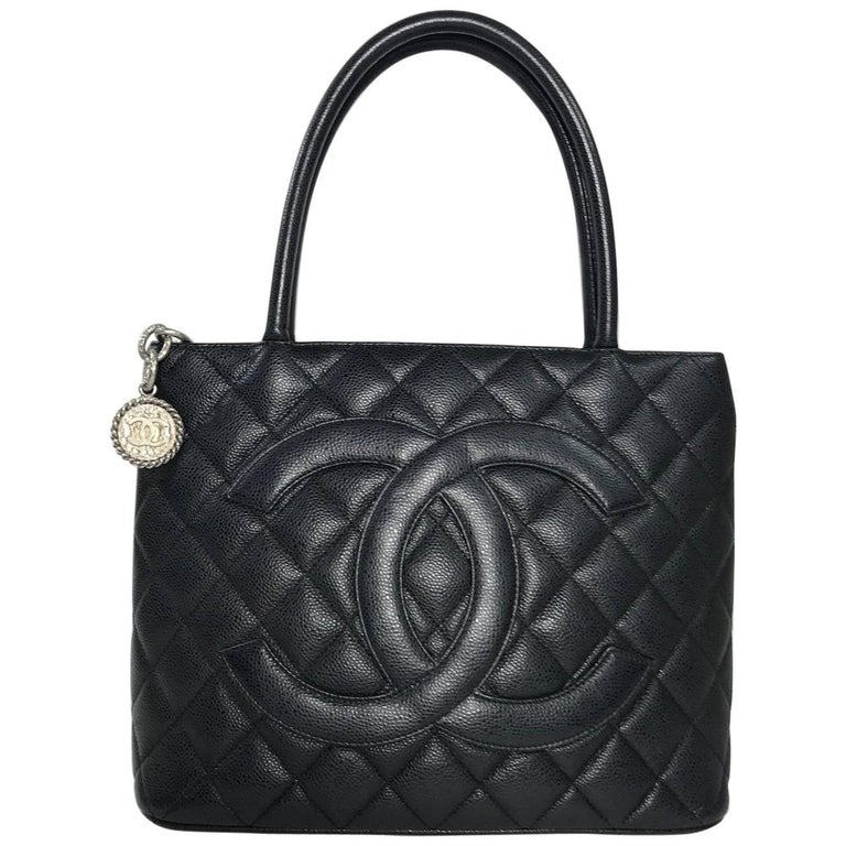 Chanel Caviar Leather Medallion with Silver Hardware in Black