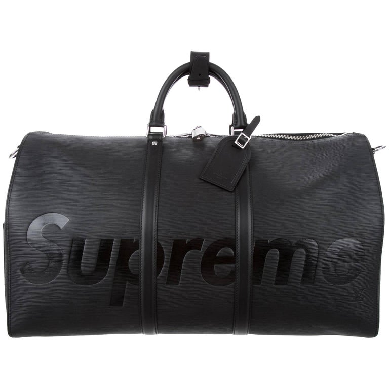 Louis Vuitton Supreme NEW Black Leather Men s Travel Duffle Carryall Bag in  Box at 1stdibs 91dcf7ca00161