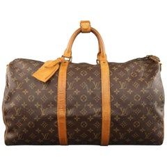 Vintage LOUIS VUITTON KEEPALL 50 Bag Brown Monogram & Leather Duffel Bag
