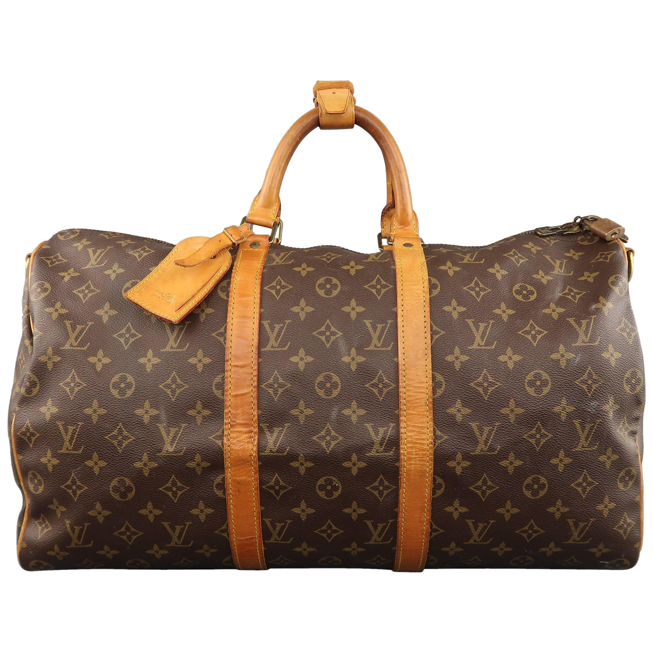 Vintage LOUIS VUITTON KEEPALL 50 Bag Brown Monogram and Leather Duffel Bag  at 1stdibs f6a205b9f5022