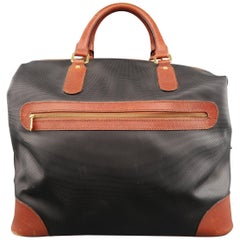 Vintage BOTTEGA VENETA Black & Brown Coated Canvas Carry-On Bag