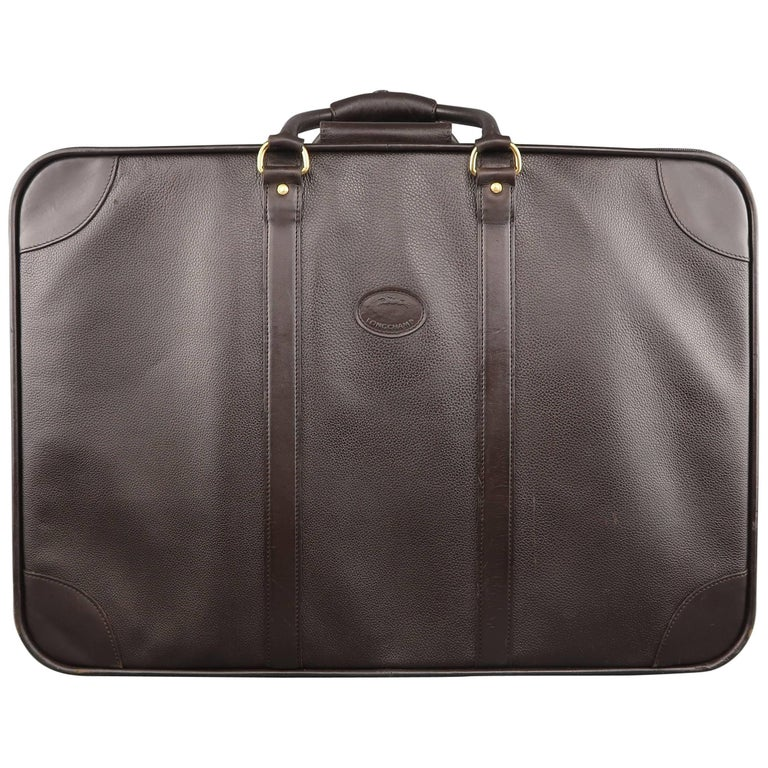 LONGCHAMP Dark Brown Leather Carry On Suitcase Travel Bag