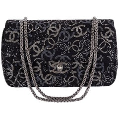 New Chanel Rhinestone CC Logo Double Flap Bag