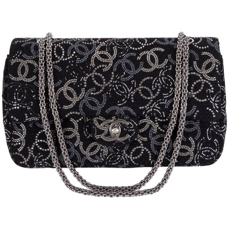 b7a3785d9731a7 New Chanel Rhinestone CC Logo Double Flap Bag For Sale at 1stdibs