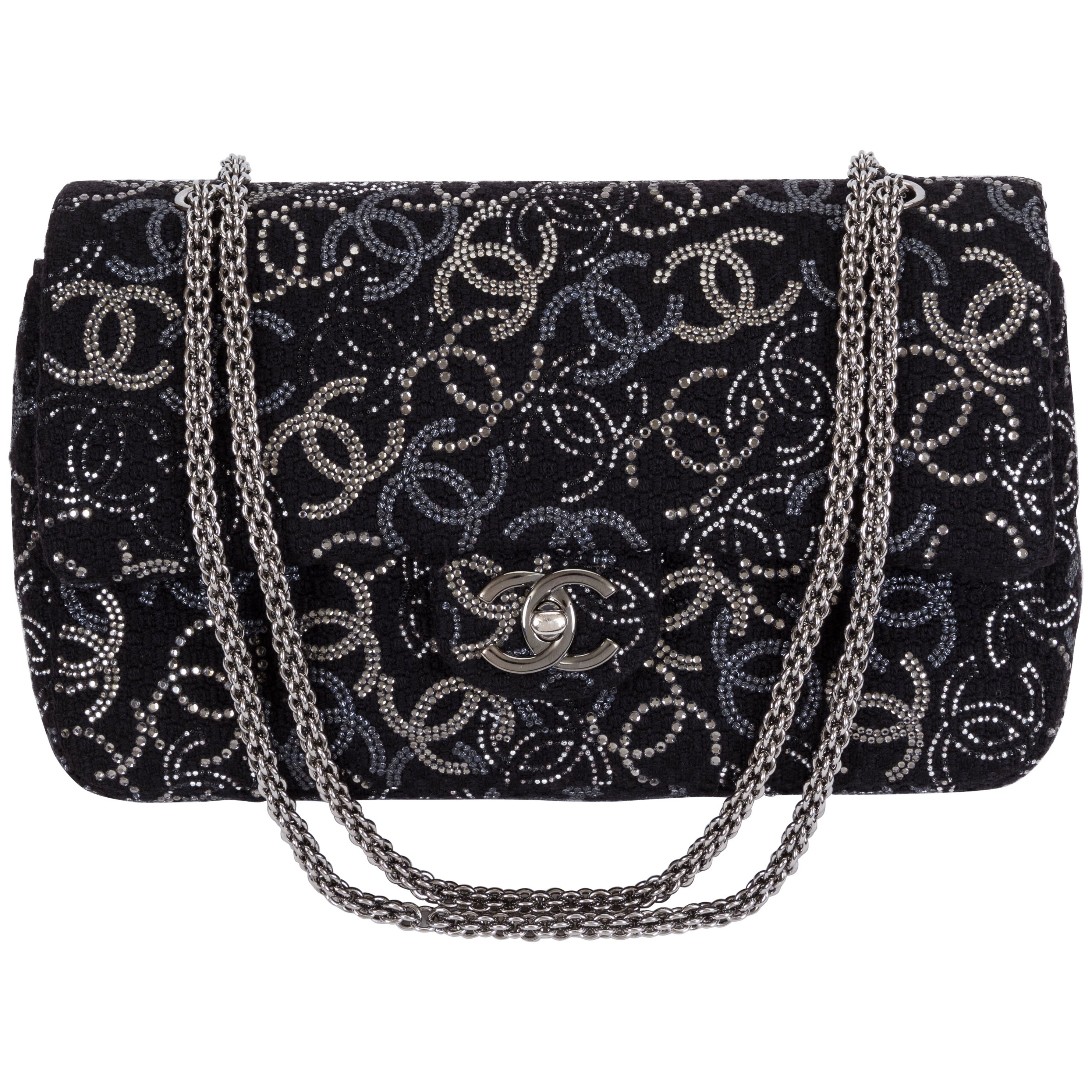 New Chanel Rhinestone CC Logo Double Flap Bag