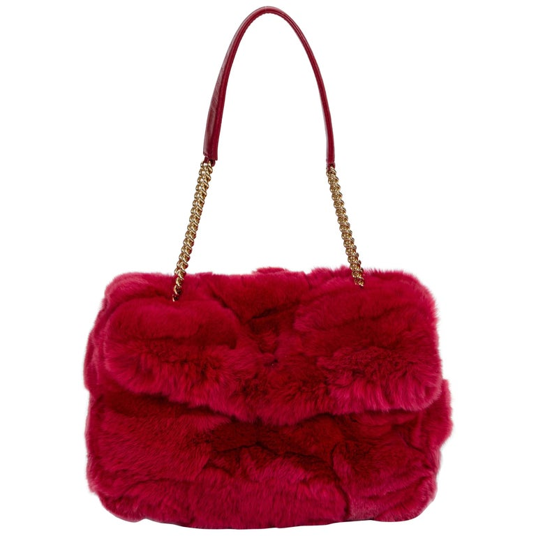 Chanel Chinchilla Vintage Red Flap Bag