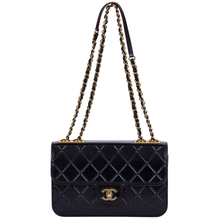 Chanel Black Brushed Leather Flap Bag For Sale