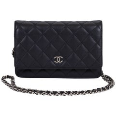Chanel Black Caviar Wallet On A Chain Bag