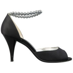 CHANEL Pumps - Size 10 Black Silk Blue Pearl Strap Peep Toe D'Orsay Pumps