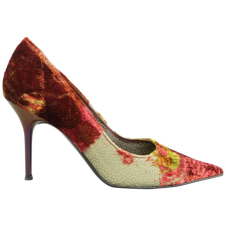 RENE CAOVILLA Size 10 Burgundy & Green Silk Burnout Velvet Pointed Toe Pumps