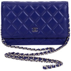 Chanel Purple Quilted Wallet On A Chain Bag