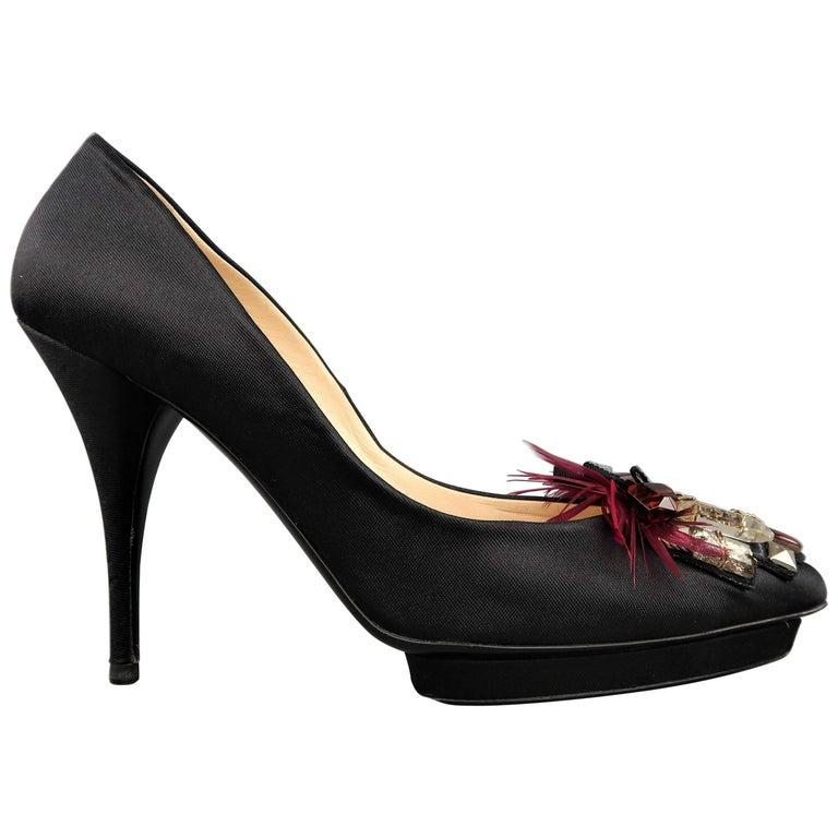 OSCAR DE LA RENTA Size 10 Black Silk Jewel & Feather Studded Platform Pumps