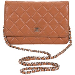 Chanel Caramel Caviar Wallet On A Chain Bag