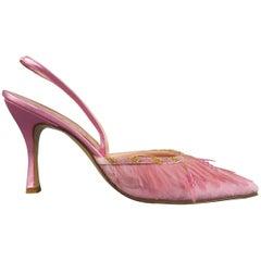 RENE CAOVILLA Size 9.5 Pink Beaded Feather Embellished Velvet Slingback Pumps