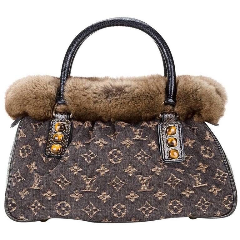 Louis Vuitton Limited Edition Brown Monogram Fur Top Handle Evening Satchel Bag