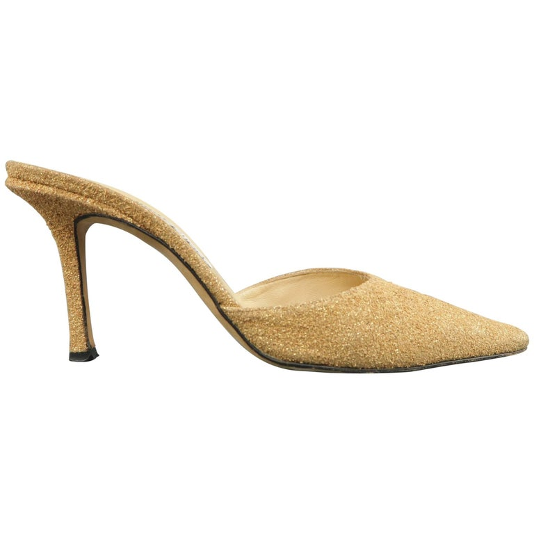 JIMMY CHOO Size 10 Gold Glitter Cork Textured Leather Mule