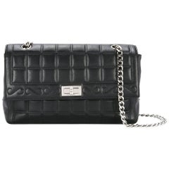 Chanel Black Leather Silver Turnlock Evening Single Double Shoulder Flap Bag