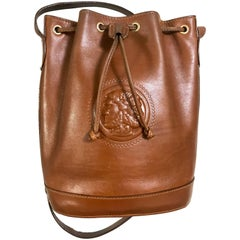 Vintage FENDI brown leather hobo bucket, shoulder bag with drawstring and Janus.