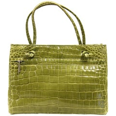 Colombo Green Crocodile Leather Vintage Bag, 2000s