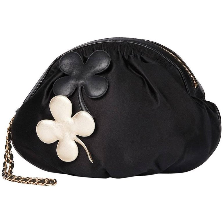 Chanel Black Satin Timesless Four Leaf Clover Wristlet Clutch