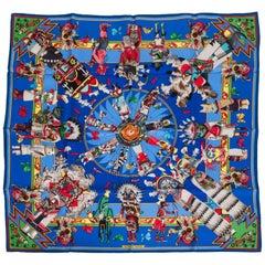 Hermes Royal Blue Kachinas Print Scarf, Kermit Oliver