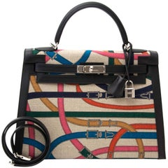"Hermes Kelly Toile de Camp 32cm Limited Edition ""Cavalcadour"" + strap"