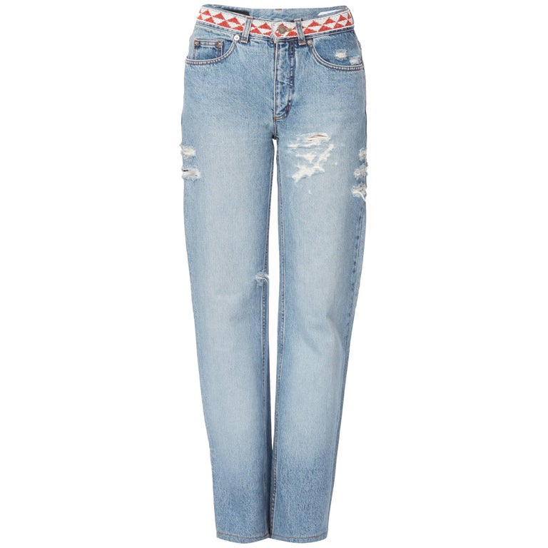 Tom Ford for Gucci distressed denim trousers with bead embellishment, Spring/Sum