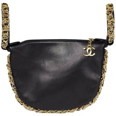 2013 Chanel Black Lambskin Chain Around Timeless Wristlet