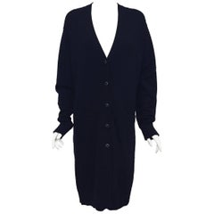 Chanel Black 100% Cashmere Long Cardigan Coat Size 48