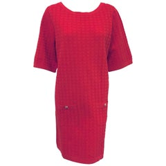 Contemporary Chanel Red Cotton Blend Casual Dress W 2 Bucket Pockets