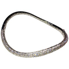Silver 5 Row Pave Curved Bangle