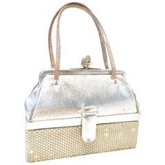 "Judith Leiber Silver Python & Austrian Crystal Minaudiere ""Box"" Evening Bag"