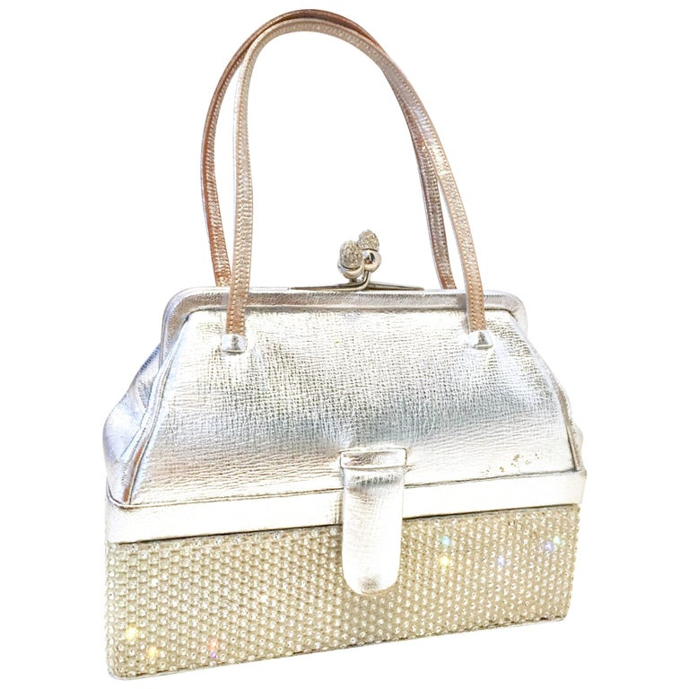 "Judith Leiber Silver Python and Austrian Crystal Minaudiere ""Box"" Evening Bag"