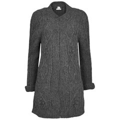 Hermes Grey Alpaca Knit Open Front Cardigan sz FR40