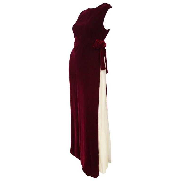 1960s Sarmi Red Velvet Evening Dress w/ Sheer White Silk Skirt Accent For Sale