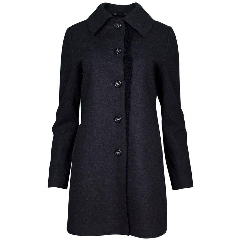 Vera Wang Charcoal Grey Wool Coat sz S