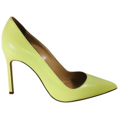 Manolo Pointy Toe Neon Pumps