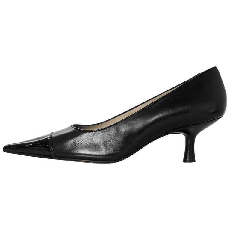 Chanel Black Leather Pointed Toe Kitten Heels sz 38